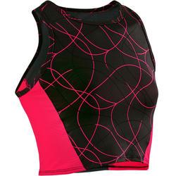 Camiseta corta sin mangas (crop top) transpirable S900 niña GIMNASIA JR negroAOP