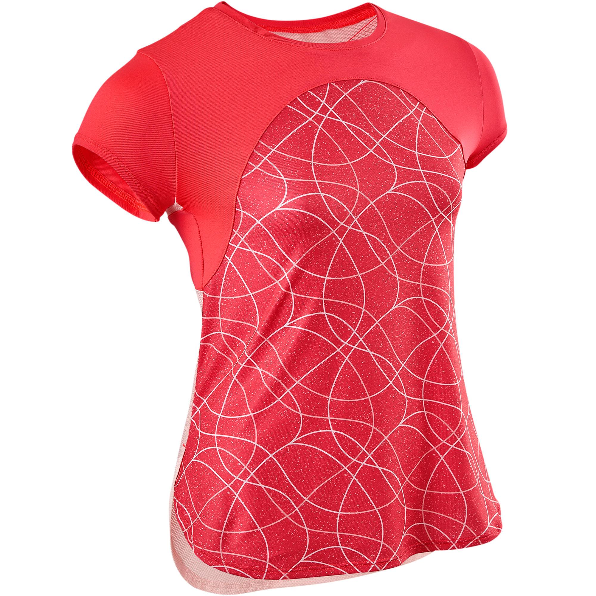 Camiseta De Manga Corta Gimnasia Domyos S900 Transpirable Niña Rojo