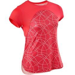 Camiseta Manga Corta Deportiva Gimnasia Domyos S900 Niña Rosa Coral