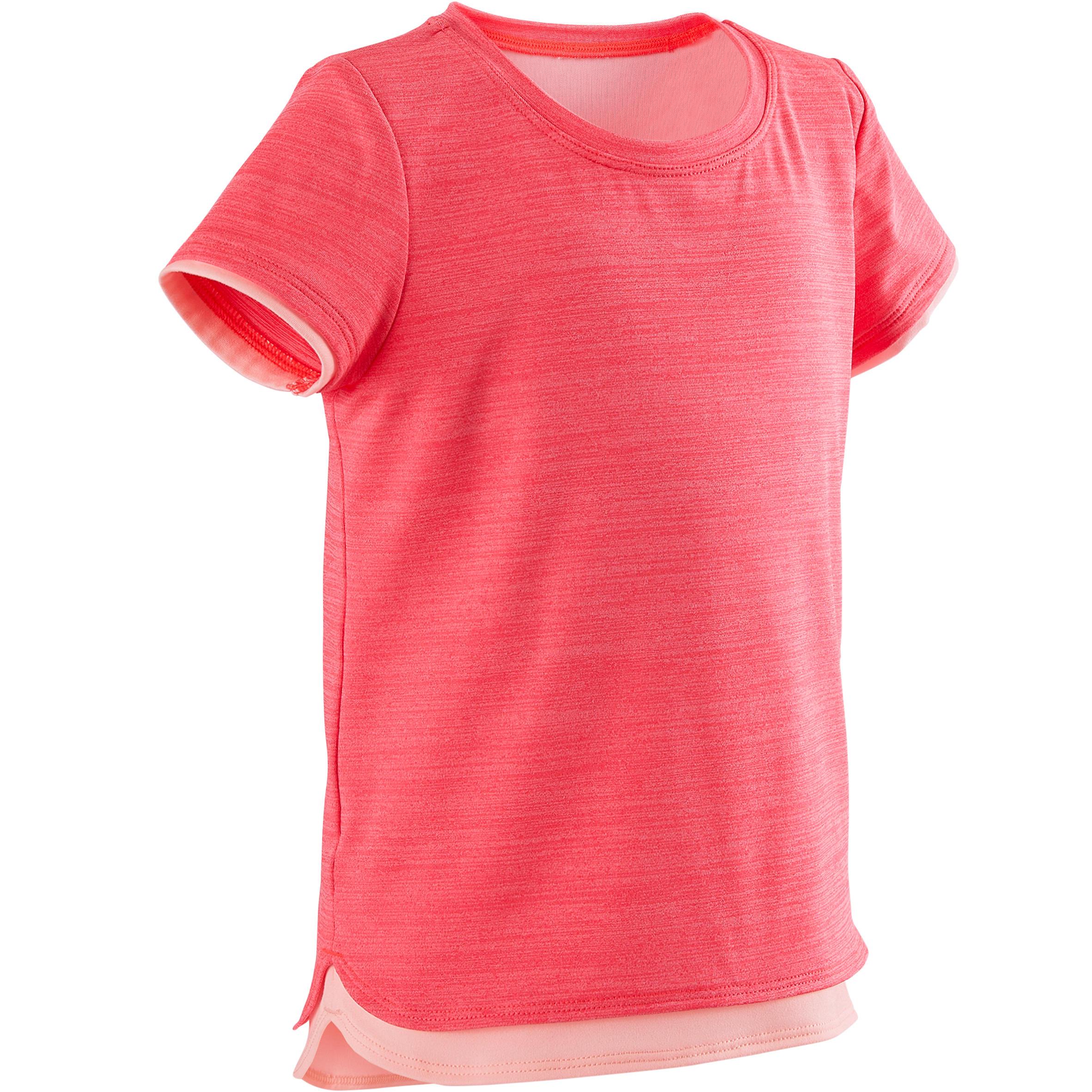 Domyos T-shirt met korte mouwen voor kleutergym S500 Keep In Up roze