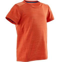 Camiseta Manga Corta Deportiva Gimnasia Domyos S500 Bebé Naranja