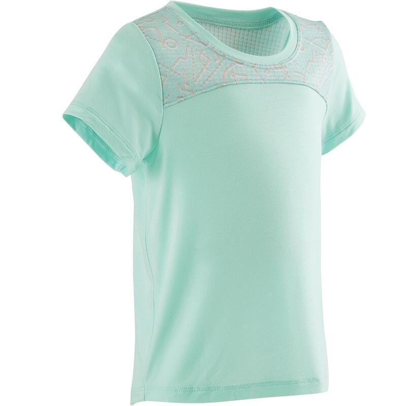 Dětské tričko 500 DRY na cvičení zelené