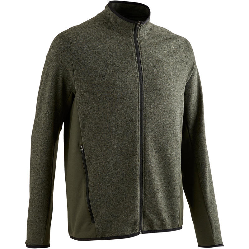 Men's Gym Zip-Up Jacket 500 - Mottled Khaki