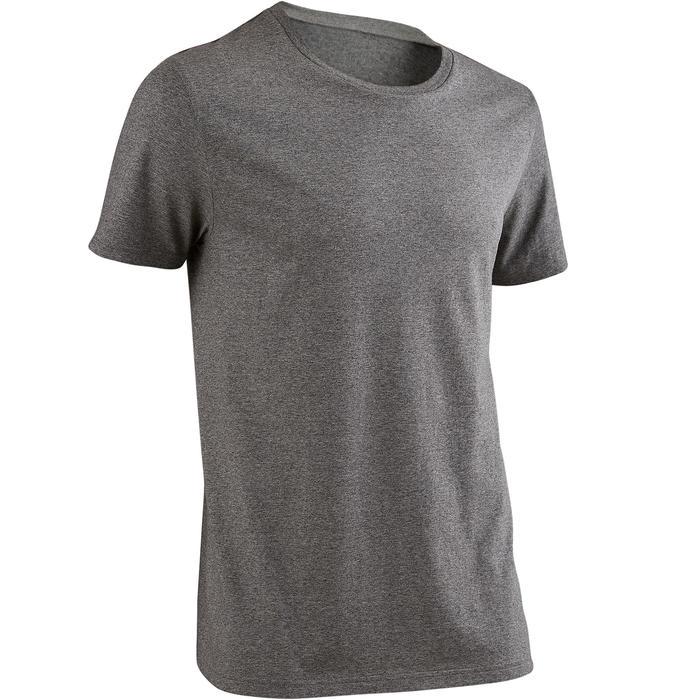 Camiseta Sportee 100 Pilates Gimnasia suave hombre gris jaspeado