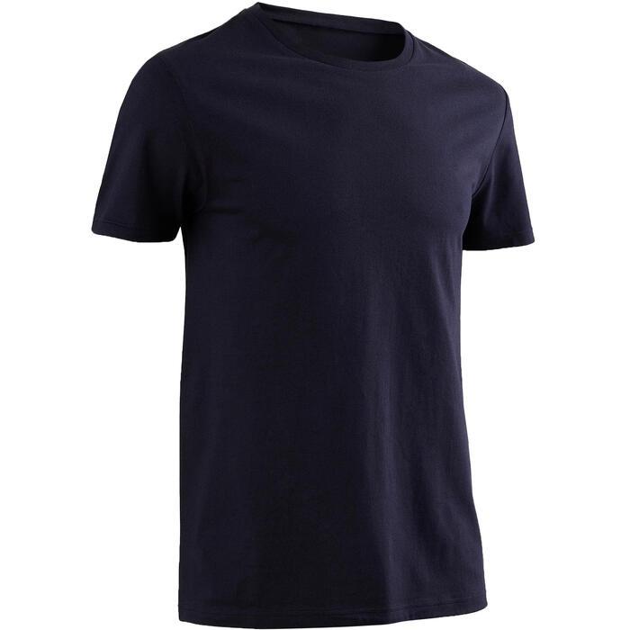 標準剪裁皮拉提斯與溫和健身純棉T恤100 - 海軍藍