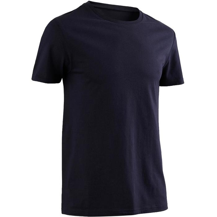 T-Shirt Sportee 100 regular Pilates Gym douce 100% coton homme bleu marine