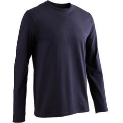 Camiseta Manga Larga Gimnasia Pilates Domyos 100 Regular Hombre Azul