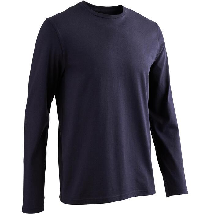 Shirt lange mouwen voor pilates en lichte gym heren 100 regular fit donkerblauw
