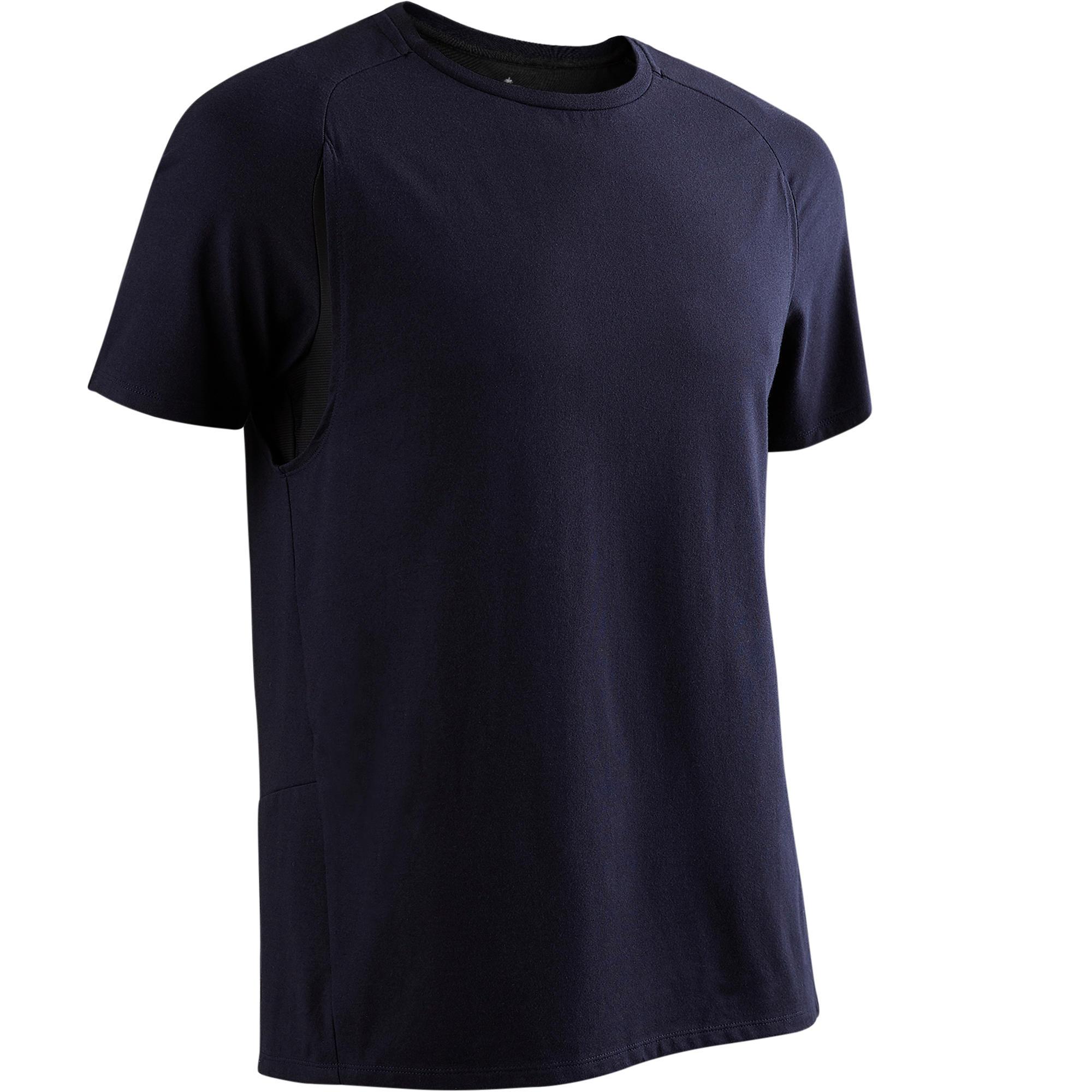 T-Shirt 540 Free Move Gym & Pilates Herren marineblau | Sportbekleidung > Sportshirts > Poloshirts | Blau - Schwarz | Domyos