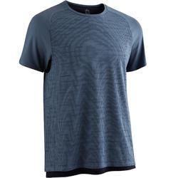 Camiseta Manga Corta Gimnasia Pilates Domyos 540 Hombre Azul Tormenta/Azul
