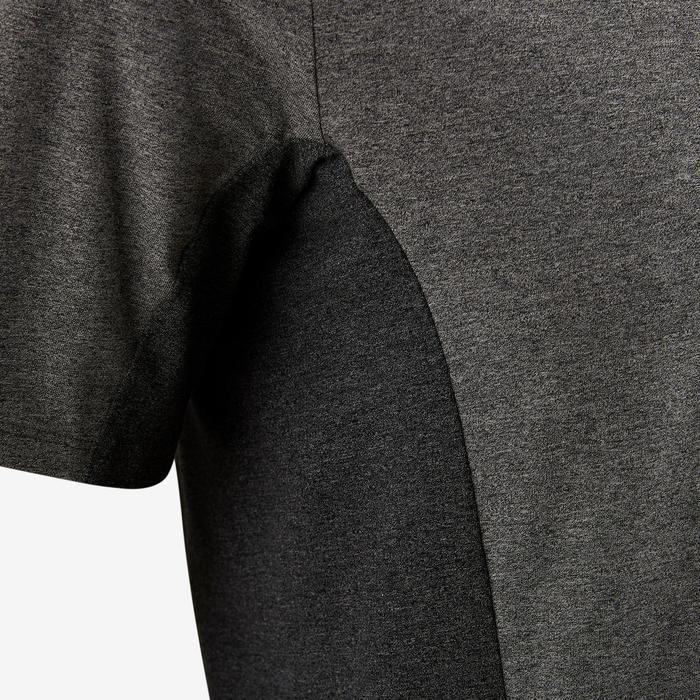 Camiseta Manga Corta Gimnasia Pilates Domyos 560 Hombre Gris/Gris Oscuro