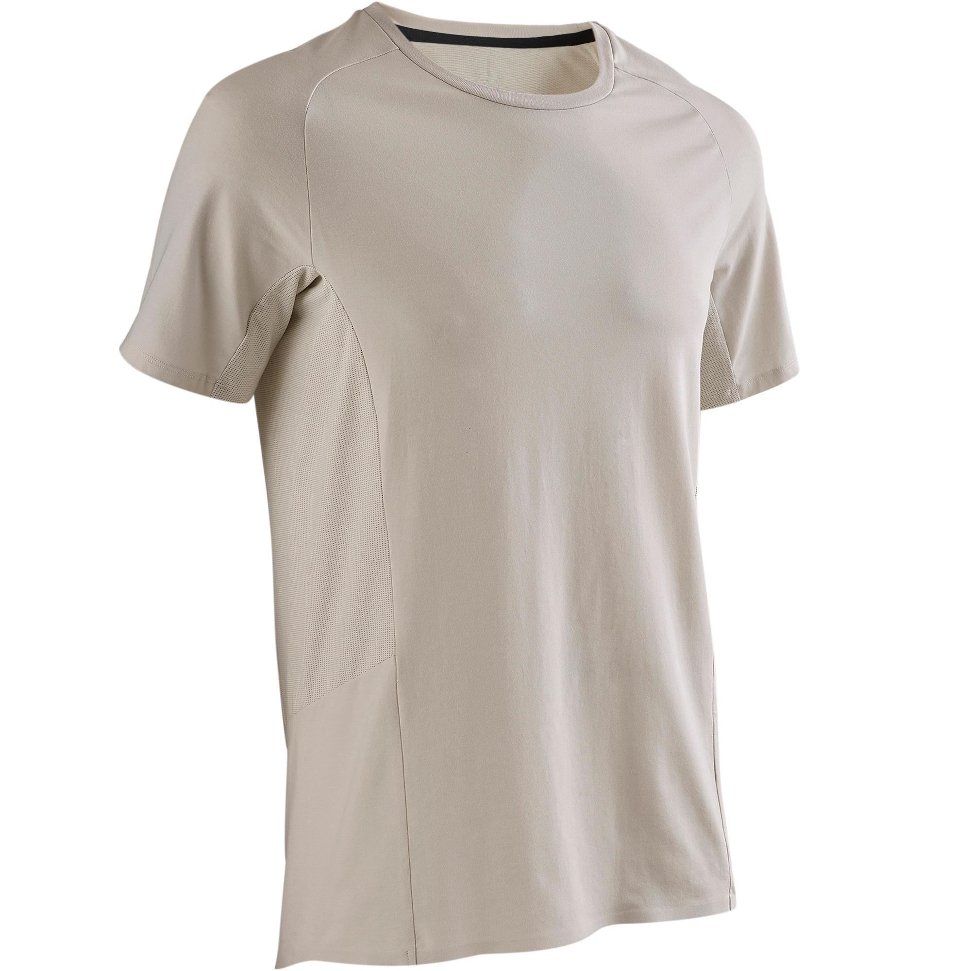 Domyos T-shirt 560 pilates en lichte gym heren beige