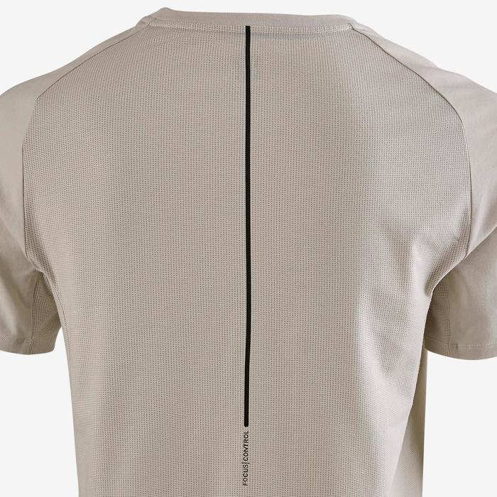 Camiseta Manga Corta Gimnasia Pilates Domyos 560 Hombre Beige