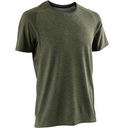 T-shirt 520 regular fit pilates en lichte gym heren gemêleerd kaki