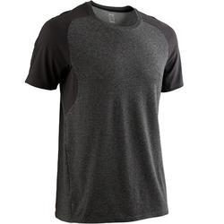 Camiseta Manga Corta Gimnasia Pilates Domyos 520 Hombre Gris Oscuro/Negro Carbón