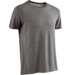 Camiseta 520 regular Pilates y Gimnasia suave hombre gris claro jaspeado