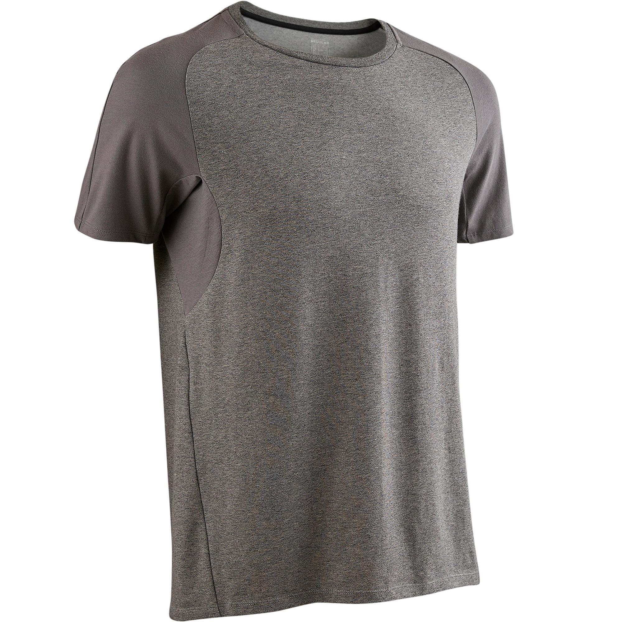 T-Shirt 520 Regular Gym & Pilates Herren hellgrau meliert | Sportbekleidung > Sportshirts > Poloshirts | Grau | Domyos