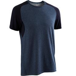 Camiseta Manga Corta Gimnasia Pilates Domyos 520 Hombre Azul/Azul Asfalto