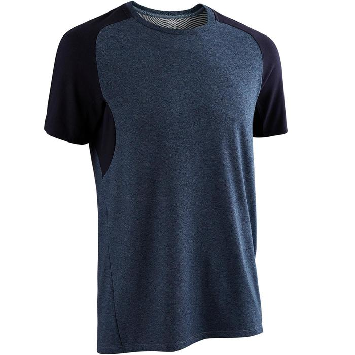 T-shirt 520 regular fit pilates en lichte gym heren marineblauw