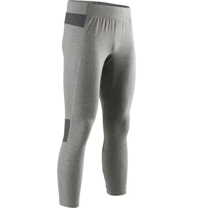 Mallas Leggings Deportivos Gimnasia Pilates Domyos 900 Skinny Hombre Gris