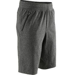 520 Knee-Length Slim-Fit Gentle Gym & Pilates Shorts - Heathered Dark Grey