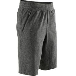 520 Knee-Length Slim-Fit Gentle Gym & Pilates Shorts - Heathered Dark Grey