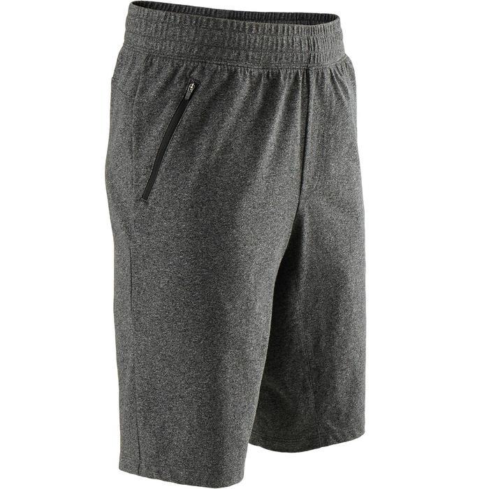 Short 520 slim fit boven knie pilates en lichte gym heren gemêleerd donkergrijs