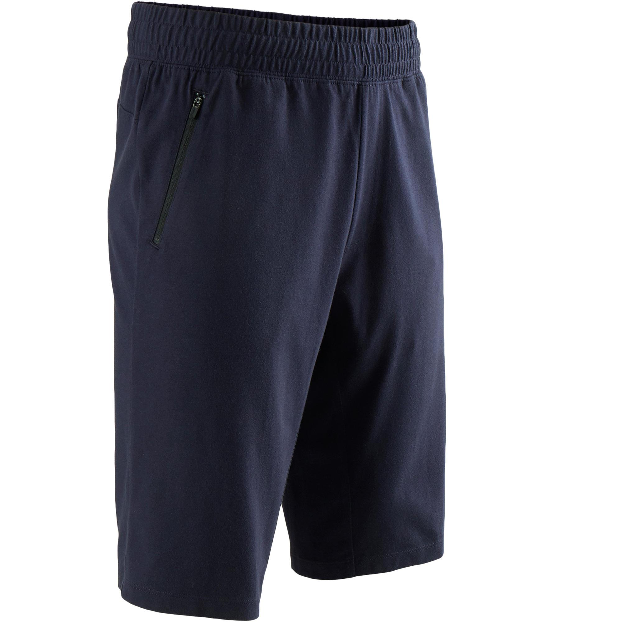 Domyos Short 520 slim fit tot boven de knie pilates en lichte gym heren marineblauw