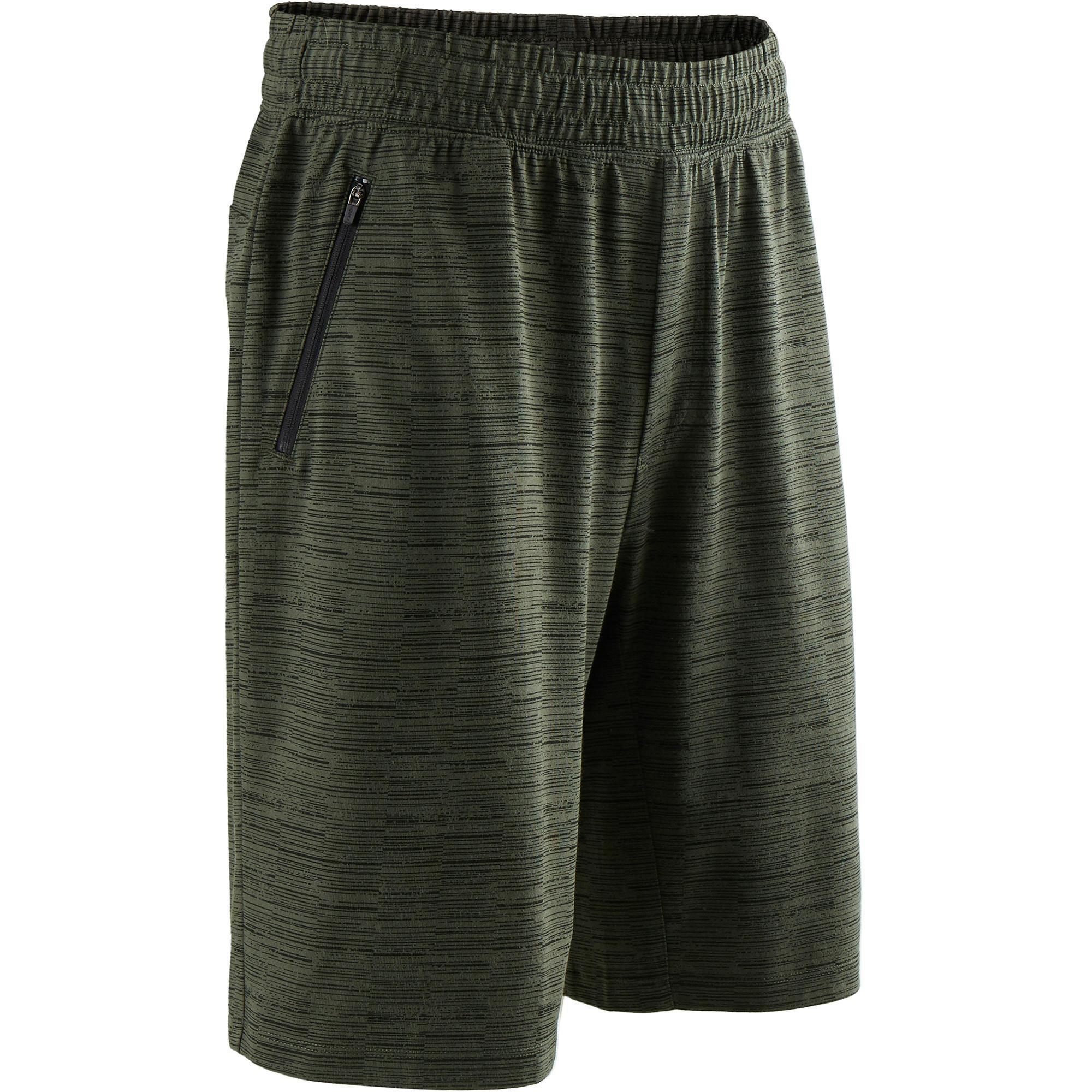 Domyos Short 520 regular fit tot boven de knie pilates en lichte gym heren kaki AOP
