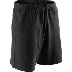 Korte short voor pilates en lichte gym heren 100 katoen donkergrijs
