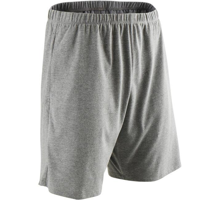 Men's Gym Shorts Regular Fit Basic 100 - Grey