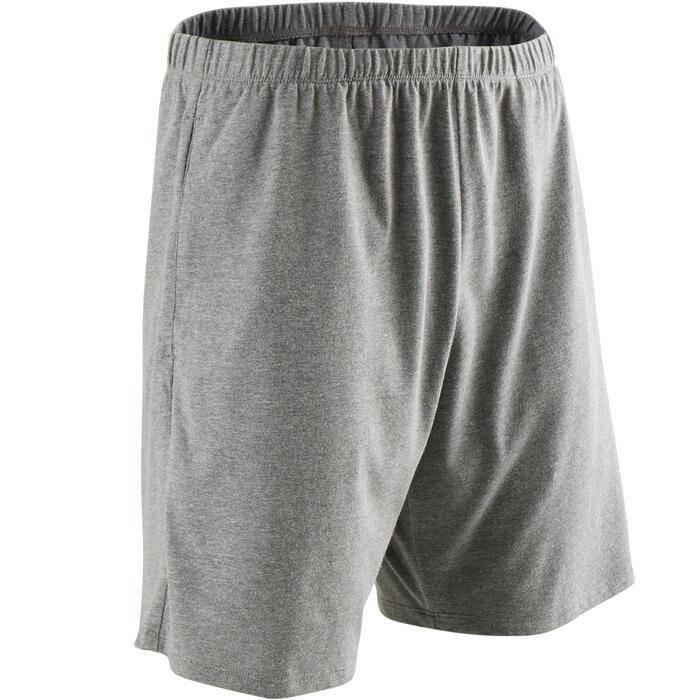 Short de sport homme court en coton gris