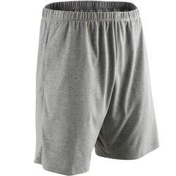 Short voor pilates/lichte gym heren 100 regular fit gemêleerd lichtgrijs