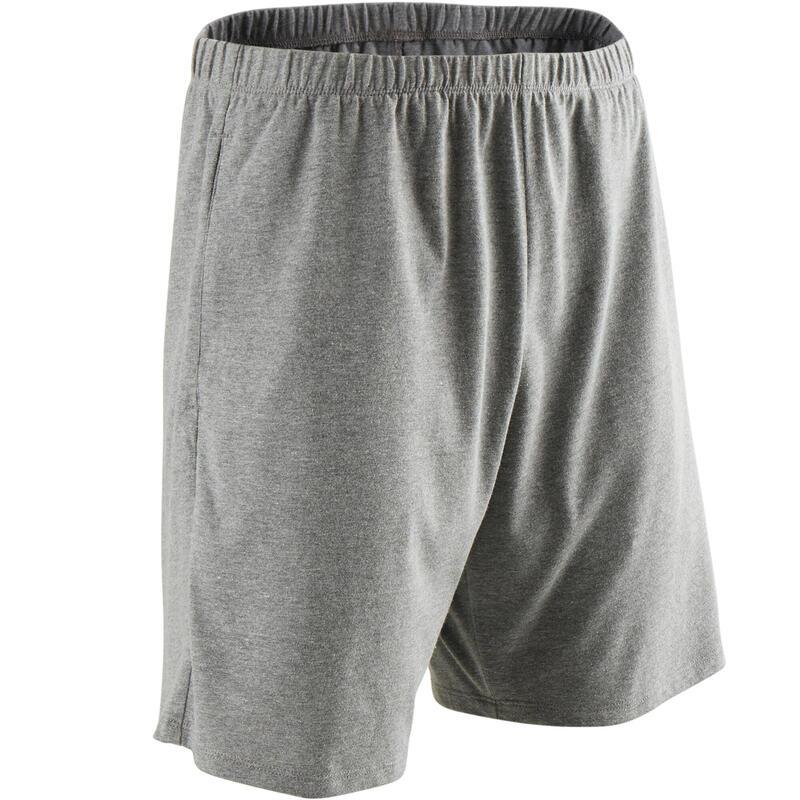 Korte short voor pilates en lichte gym heren 100 katoen grijs