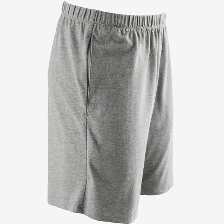 100 Celana Pendek Regular-Fit Pilates & Gym Ringan - Abu-abu Terang Berbintik