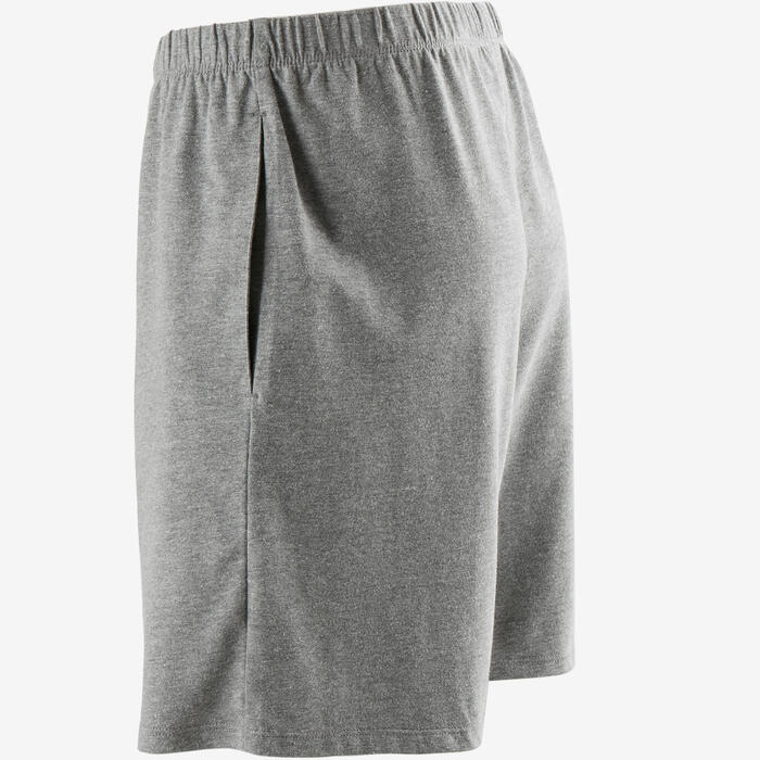 Short 100 regular Pilates Gym douce homme gris clair chiné