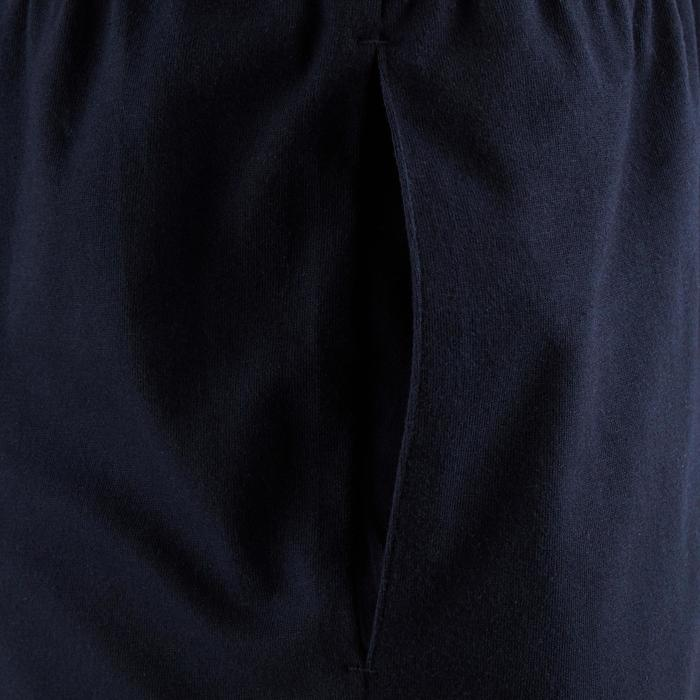 Korte herenshort voor pilates en lichte gym 100 donkerblauw
