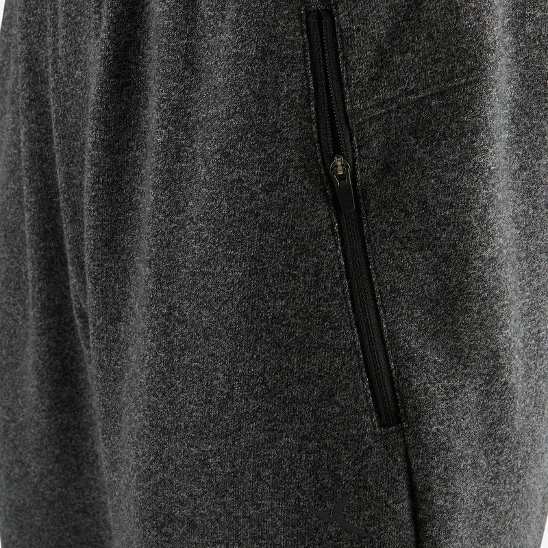 Pantalón 500 slim cierre Pilates y Gimnasia suave hombre gris oscuro