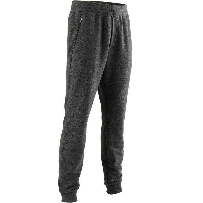 Pantalon 500 slim zip Pilates Gym douce homme gris foncé
