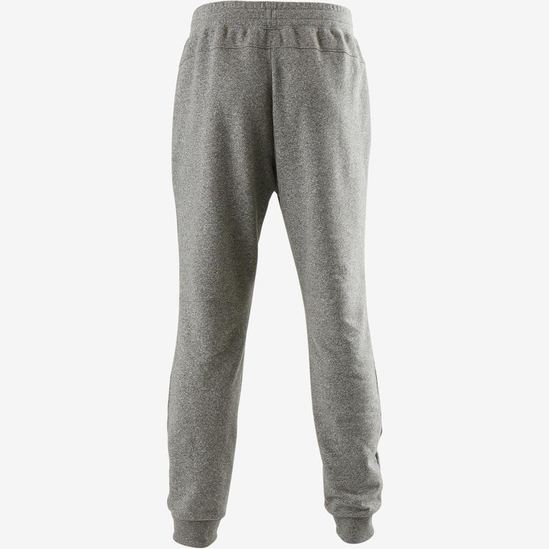 Pantalón 500 slim cremallera Pilates y Gimnasia suave hombre gris claro
