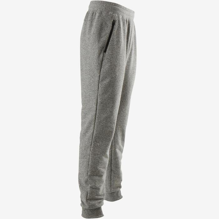 Pantalon 500 slim zip Pilates Gym douce homme gris clair