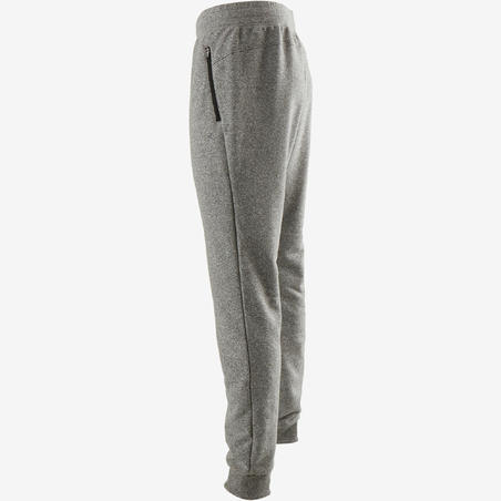 Pantalón 500 slim cierre pilates y gimnasia suave hombre gris claro