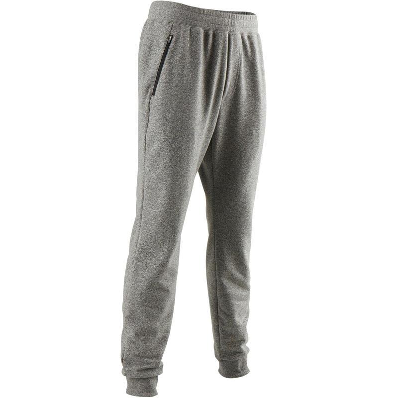 fbb6acd00213d Pantalón 500 slim cremallera Pilates y Gimnasia suave hombre gris claro
