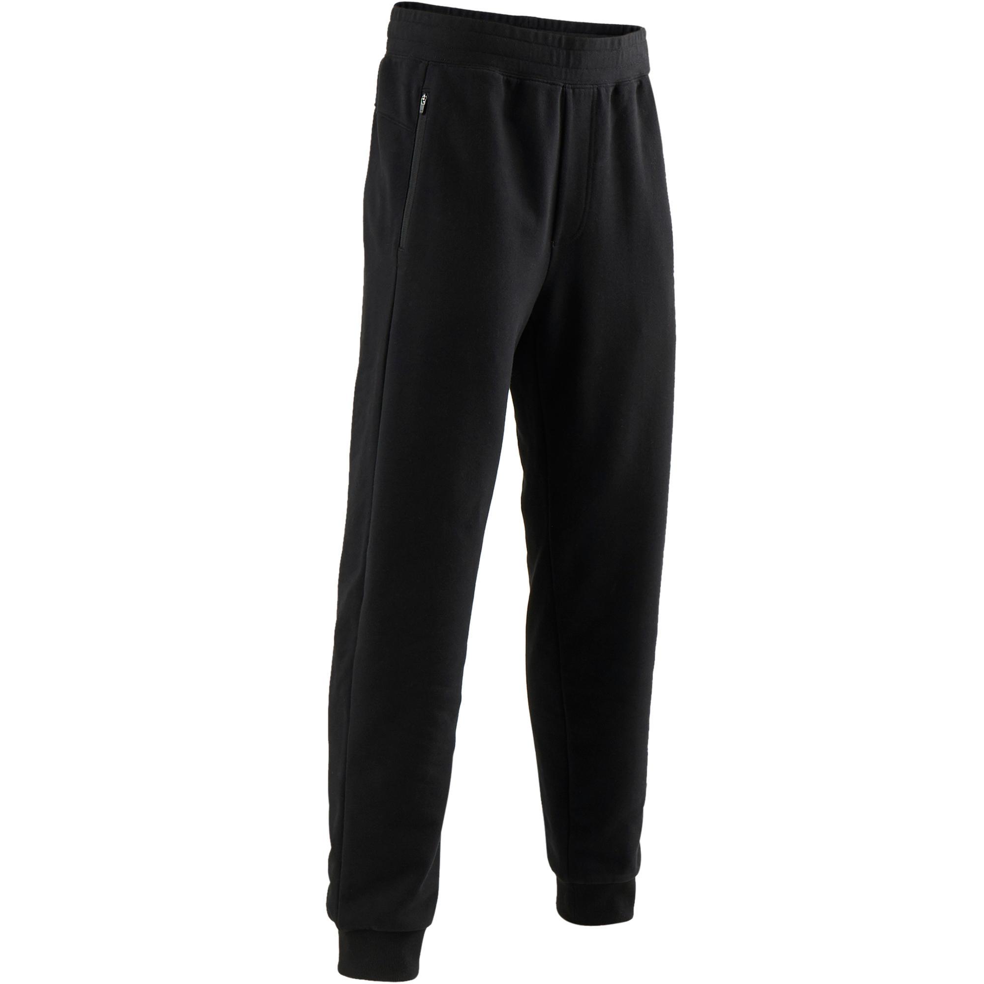 Pantalón 500 regular cremallera Pilates y Gimnasia suave negro hombre