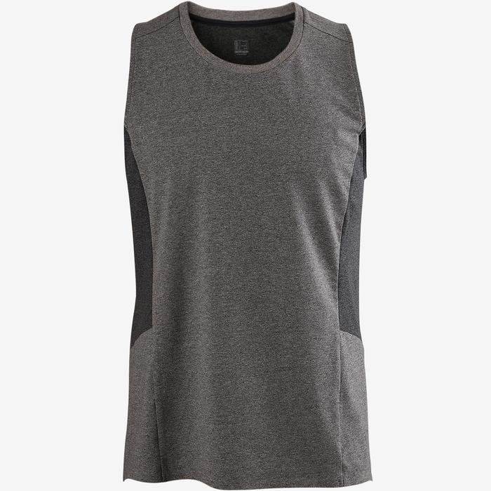 Mouwloos shirt voor pilates/lichte gym heren 560 lichtgrijs