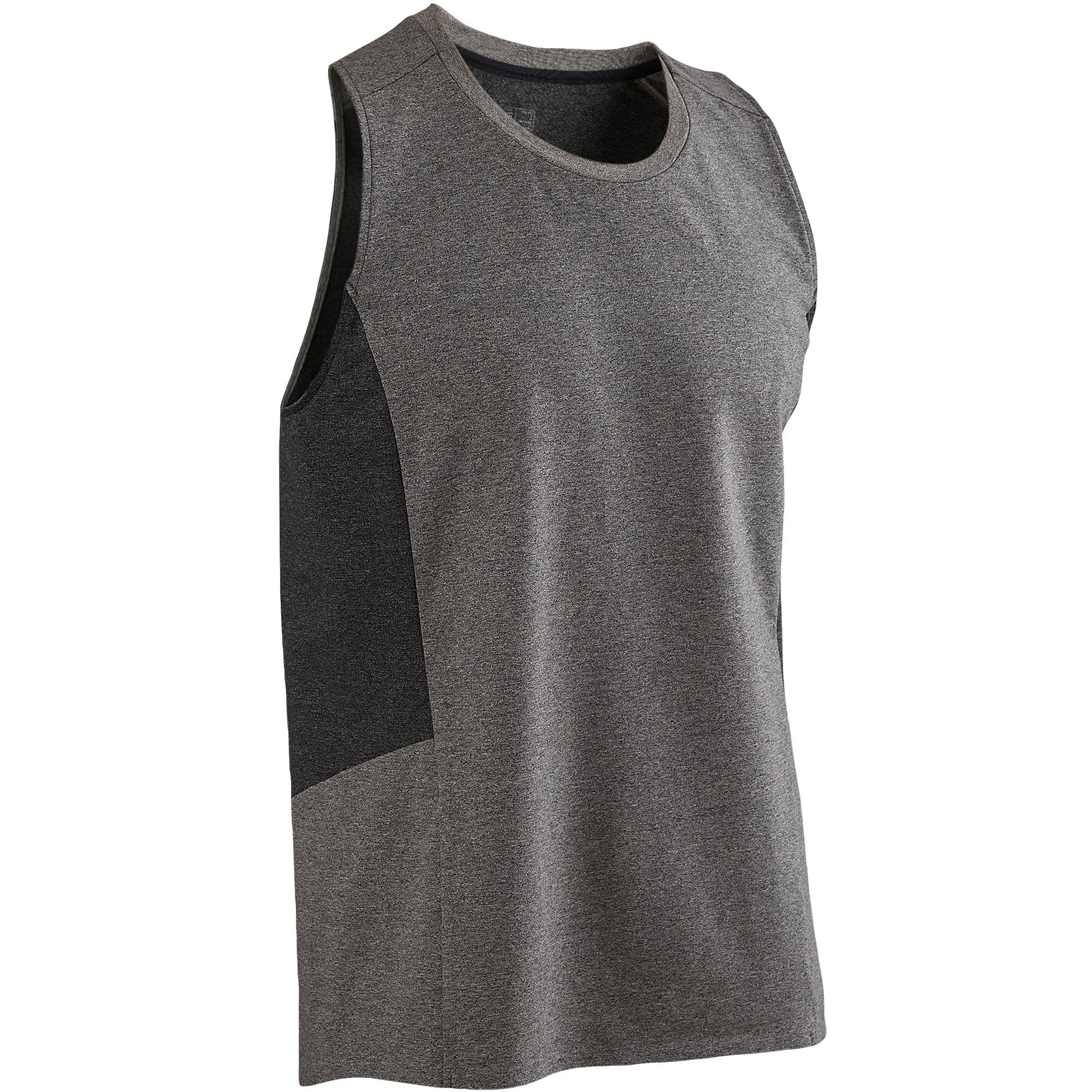 Domyos Mouwloos shirt 560 pilates en lichte gym heren lichtgrijs