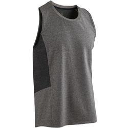 Mouwloos shirt 560 pilates en lichte gym heren lichtgrijs