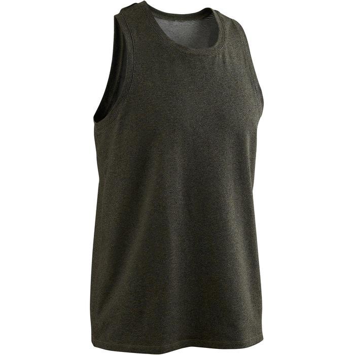 Camiseta sin mangas 500 regular Pilates y Gimnasia suave hombre caqui
