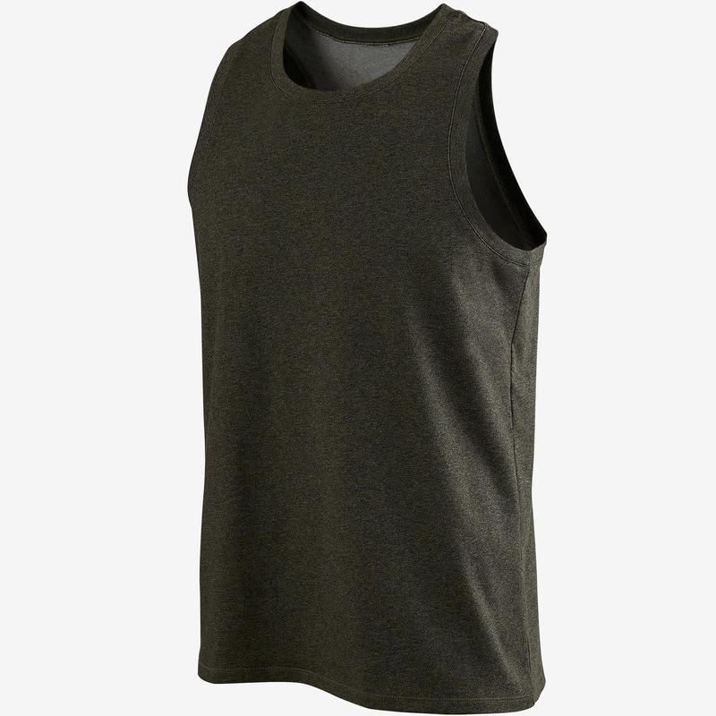 Camiseta sin mangas 500 regular Pilates y Gimnasia suave hombre caqui b49c110ab81d7