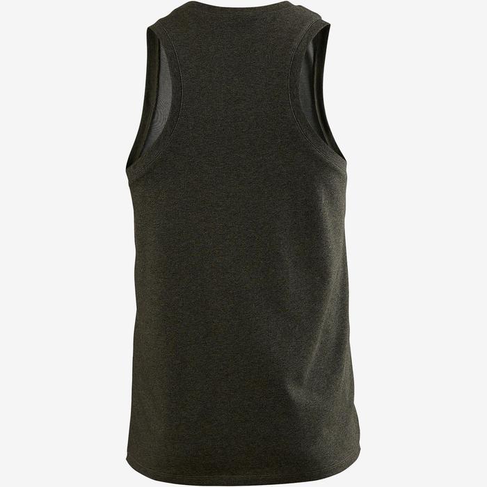 Mouwloos shirt 500 regular fit pilates en lichte gym heren kaki